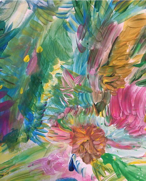 pintura abstracta realizada con acrílico y poesía de amabamaba